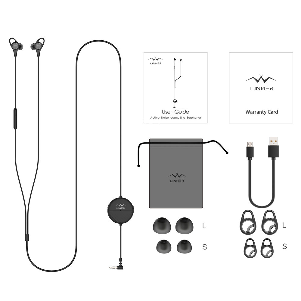 Package Included - 1 x Linner NC25 Wired Earphones3 x Pairs of ear-tips (L, M, S)3 x Pairs of wingtips (L, M, S)1 x Hop Pocket1 x User Guide1 x Micro USB Charging Cable