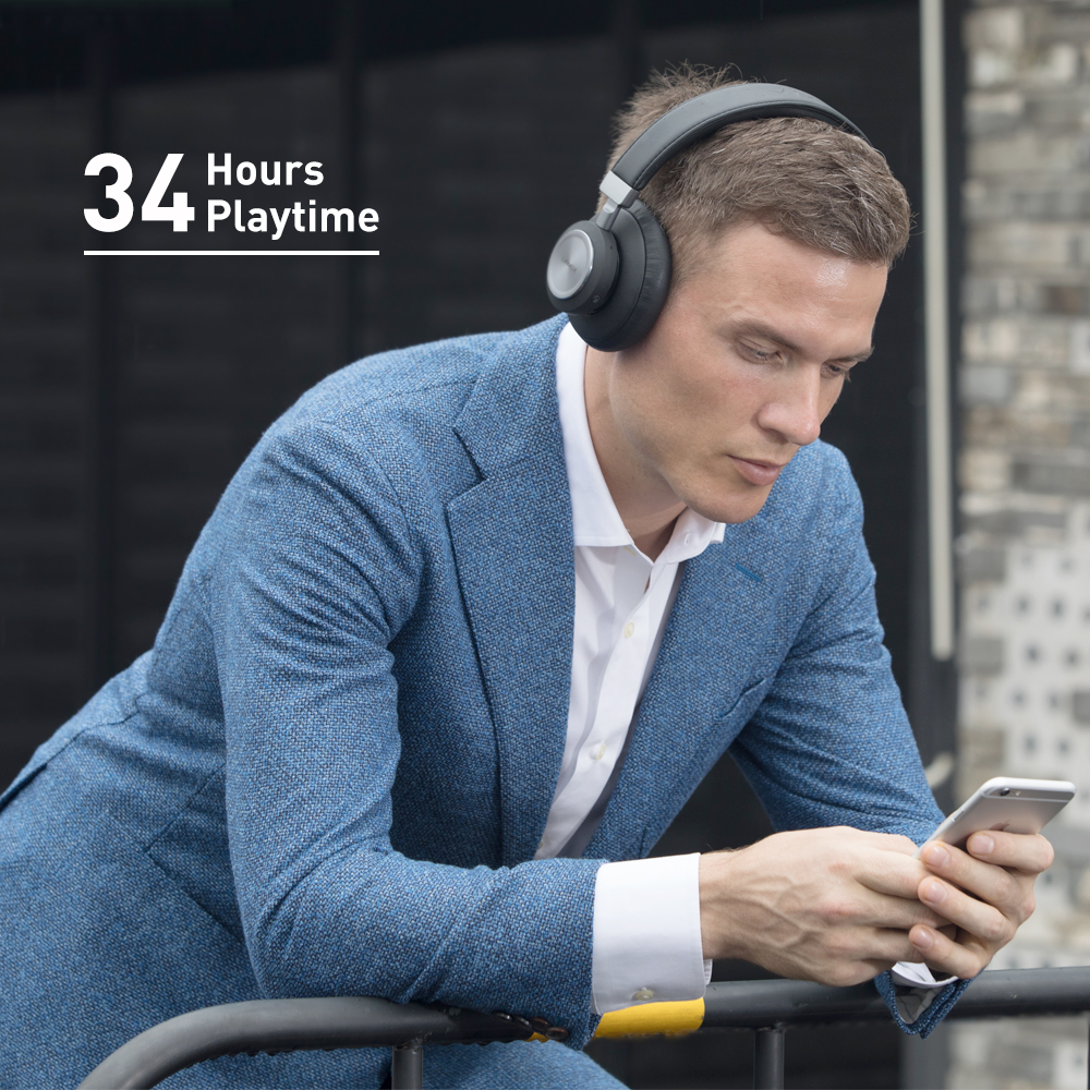 Great Battery Life - 2.5 hours of charge for 34 hours of playback in wireless mode with noise cancelling off. Decent battery life even when the noise cancellation function is always on.