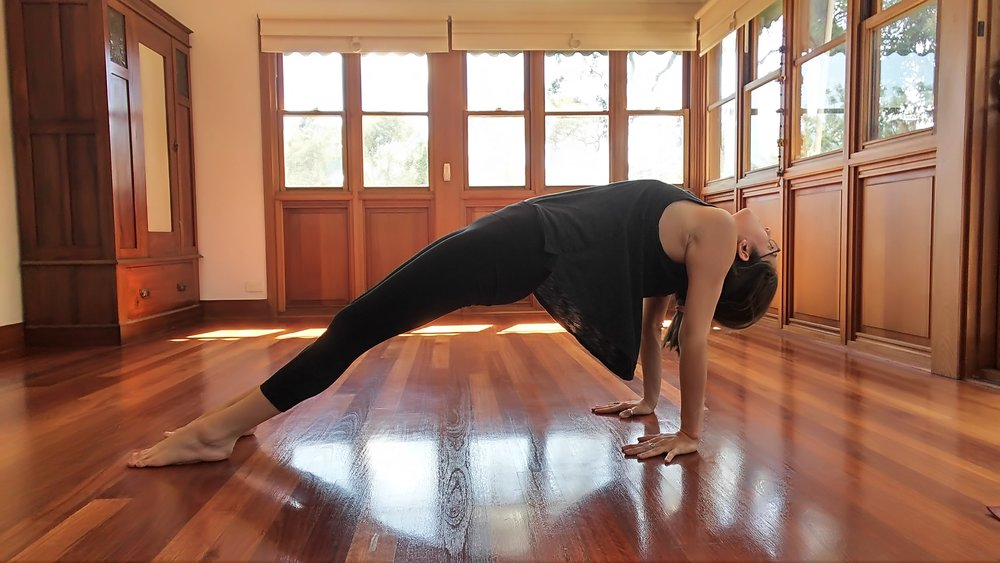 From the last pose, slowly straighten legs. Keep pelvis and chest lifted. If safe, allow the neck to release and bring your gaze behind you.