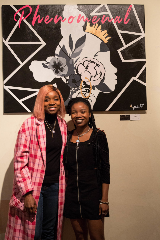 @jas.tot and @djdiamondkuts pose with the Diamond Kuts inspired Phenomenal artwork created by Jas herself.  via @thankyousam