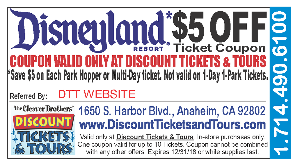 Present this coupon at discount tickets & tours or show it on your phone or ipad to receive your discount!  In-store purchase only.