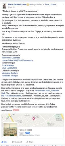 Marie Darline Exumé Facebook fan page