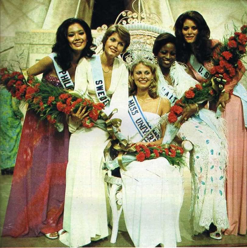 Miss Univers Haiti 1975 le soir où elle est devenu la première femme de race noire à être classée 1ere dauphine à #MissUnivers