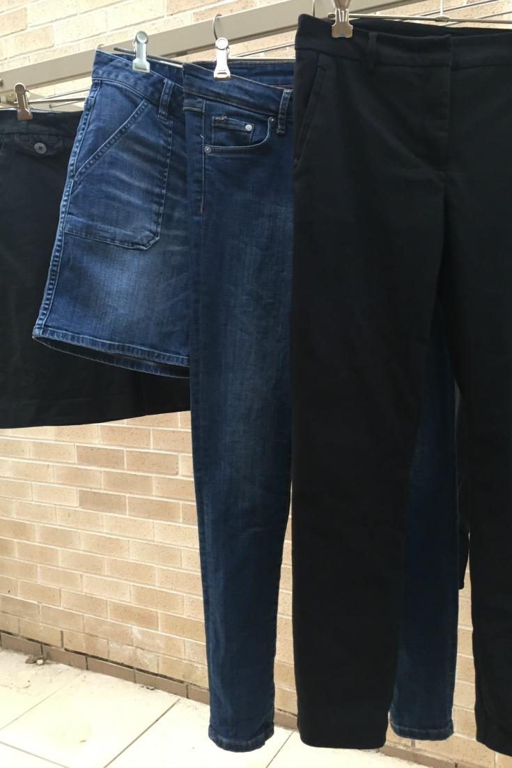 4 bottoms - black skirt, denham shorts, skinny jeans, black pants