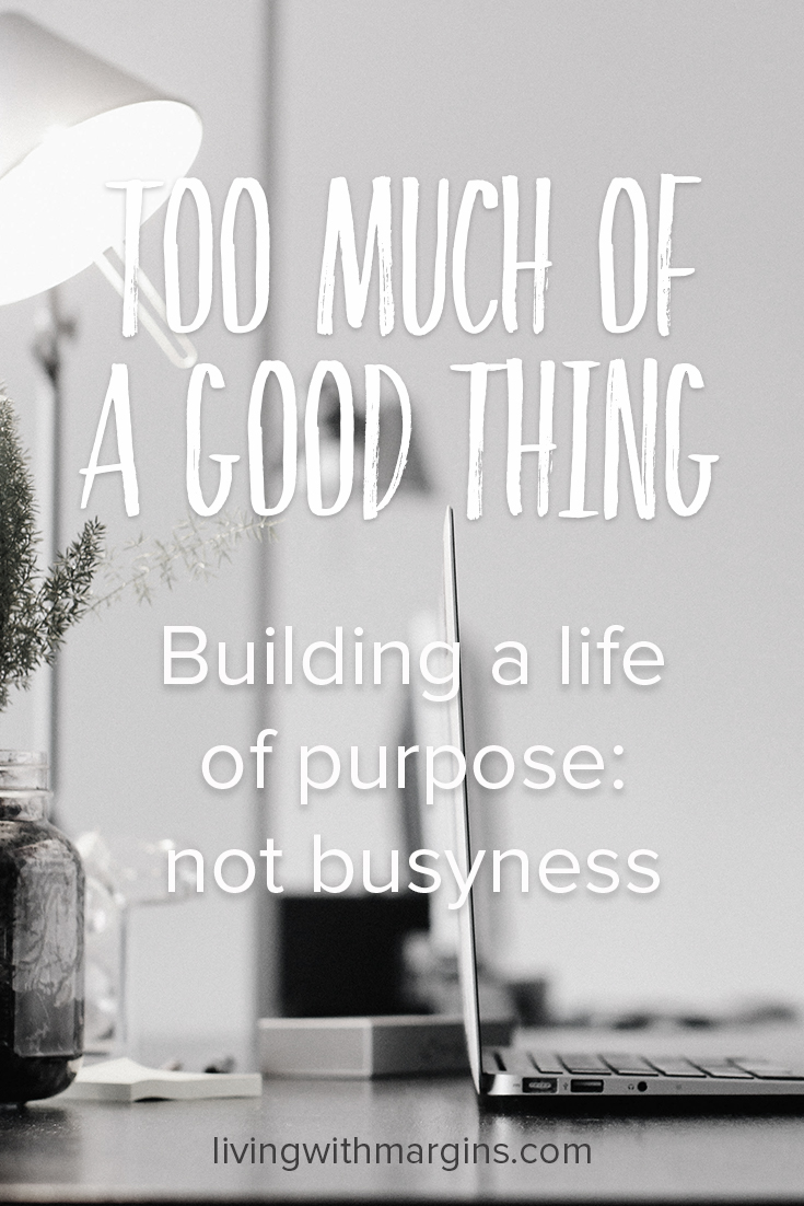 Too busy? Build a life of purpose, not busyness.