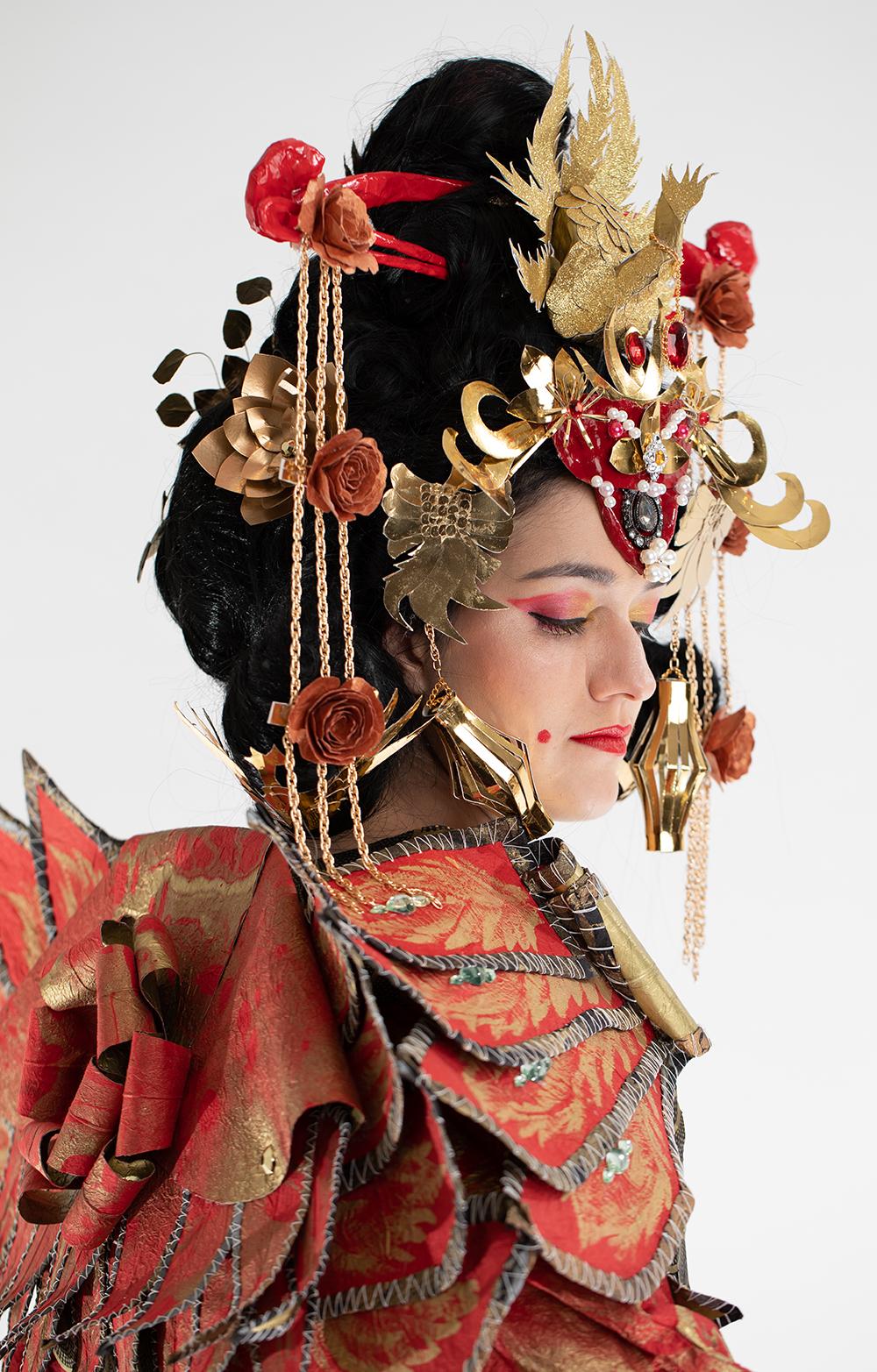 Empress at Forbidden City  Tissue paper, mulberry paper, Japanese mulberry paper, paper yarn, cardboard, papier-mache, dye, paint, glue, tape, wire Photo: Grant Wells