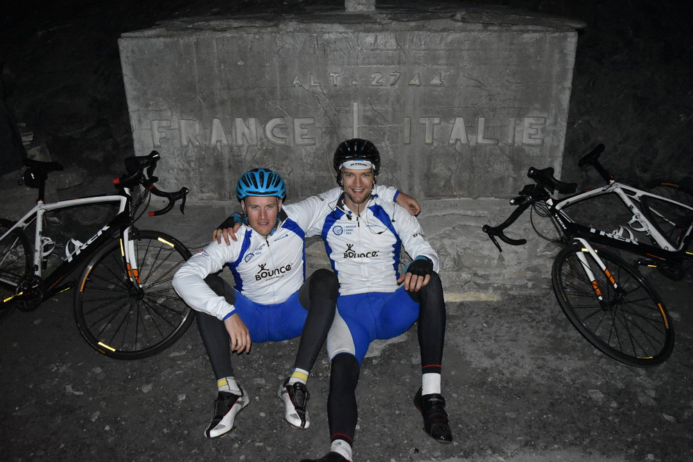 Paddy and Seamus in the wee hours on the top of the Colle dell Agnello at 2,744 metres