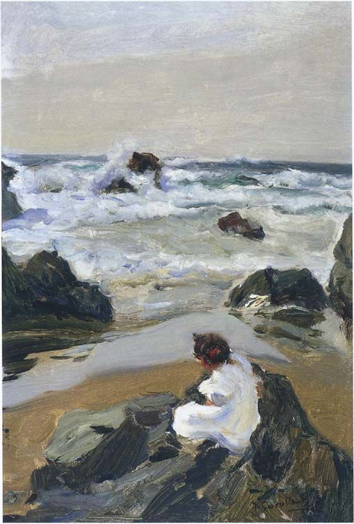 Joaquín Sorolla -  Elenita at the beach