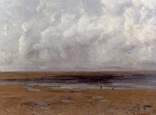 Gustave Courbet,   The Beach at Trouville at Low Tid e ~  1865