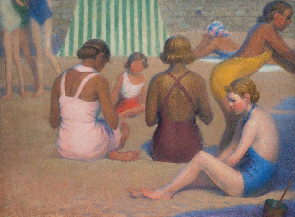 Ernest Rouart, Baigneurs sur la plage, 1935,