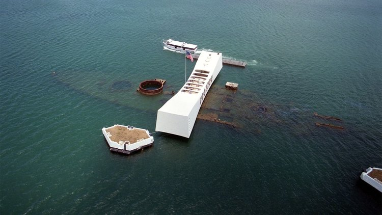 USS Arizona under water