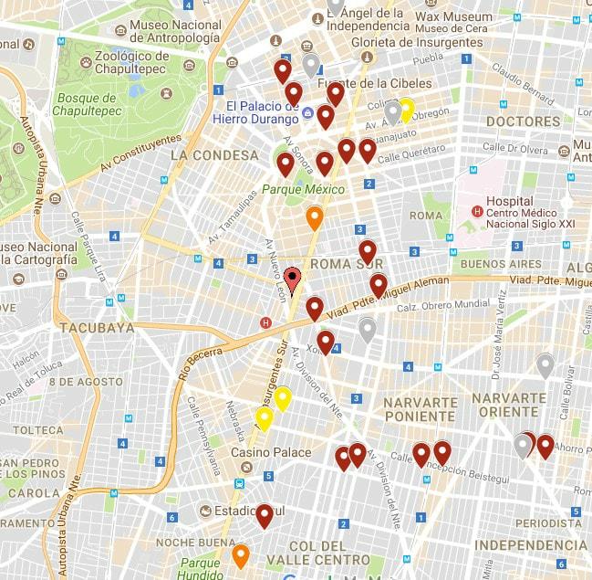 Derrumbes (en rojo obscuro) en la zona de Condesa, Roma y del Valle