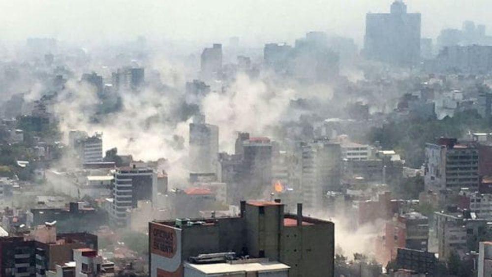 Paisaje de la Ciudad de Mexico durante el sismo
