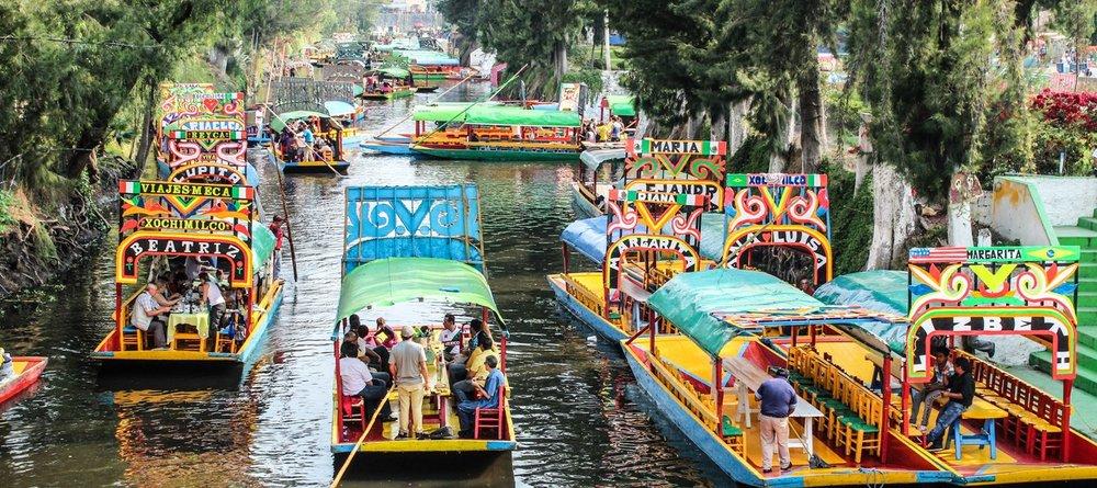 Trajineras in Xochimilco, Mexico City