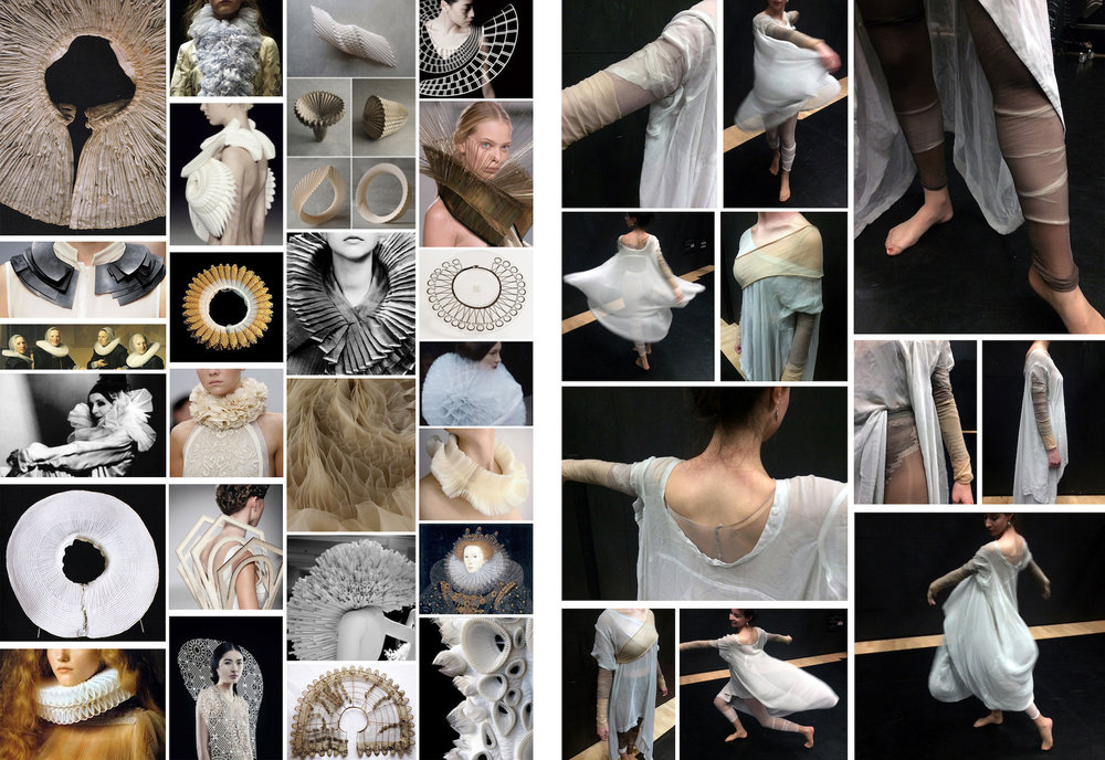 Visual research on variations of the Elizabethan Ruff, various designers and artists, and base layer experimentation