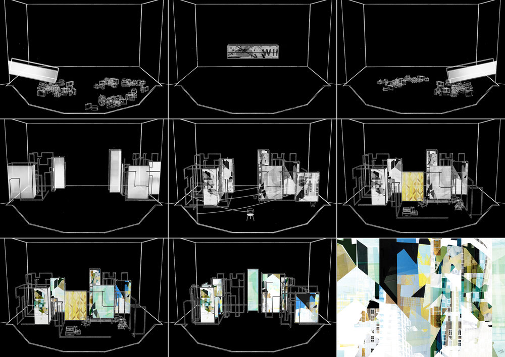 Storyboard and découpage of projected collages