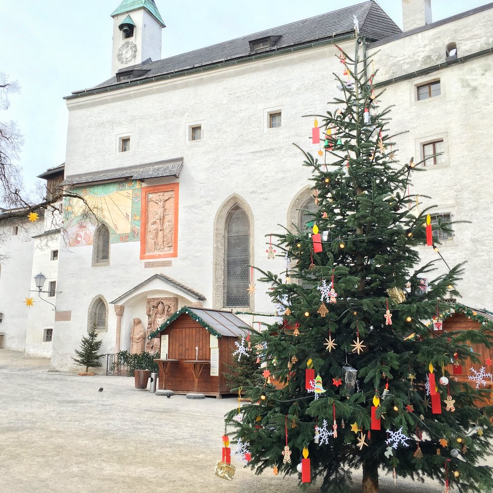 Maybe you could put your gifts under a Christmas tree atop the Salzburg Fortress?