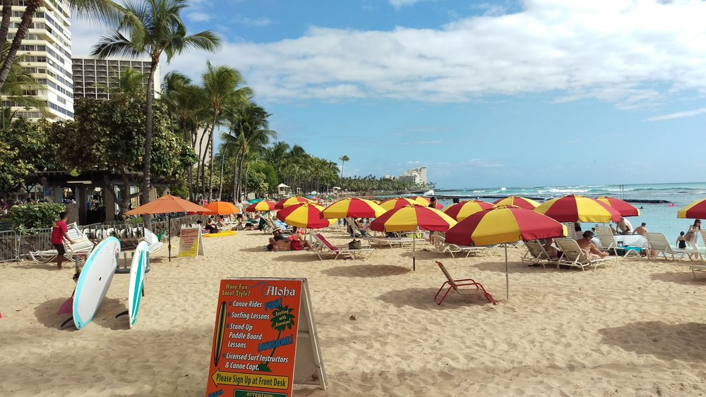 Wakiki Beach at Honolulu. Taken by Scott Jenkins for  Wanderer of the World .