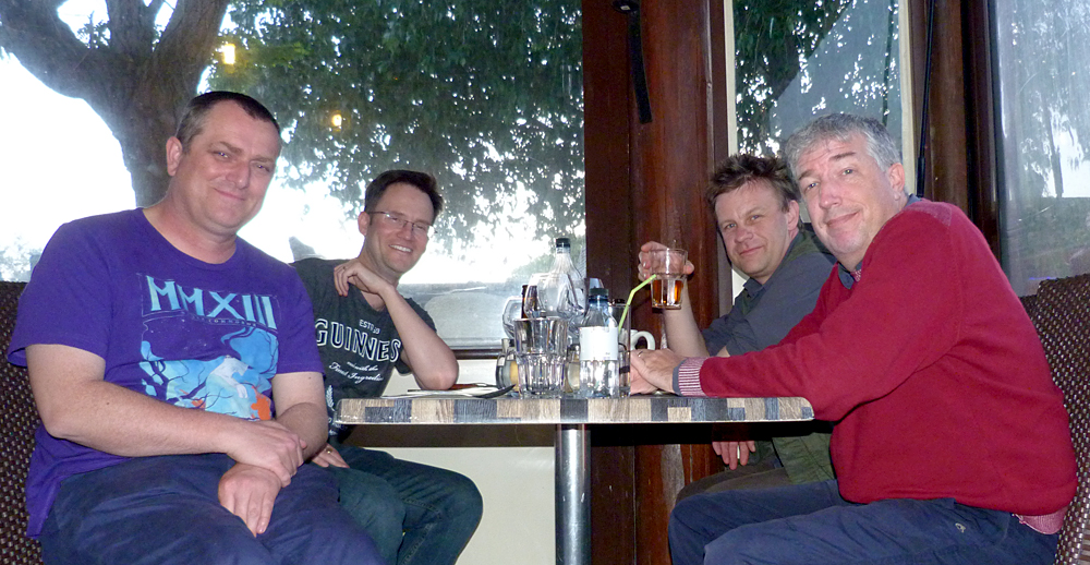 BUBO lads celebrating a successful meet-up and the first tick of the trip at U Caradellu.