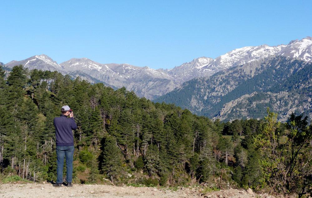 Ian birding near Col de Sorba, Vivario