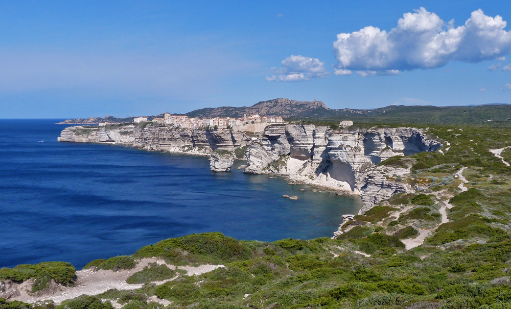 The town of Bonifacio perched on the limestone cliffs