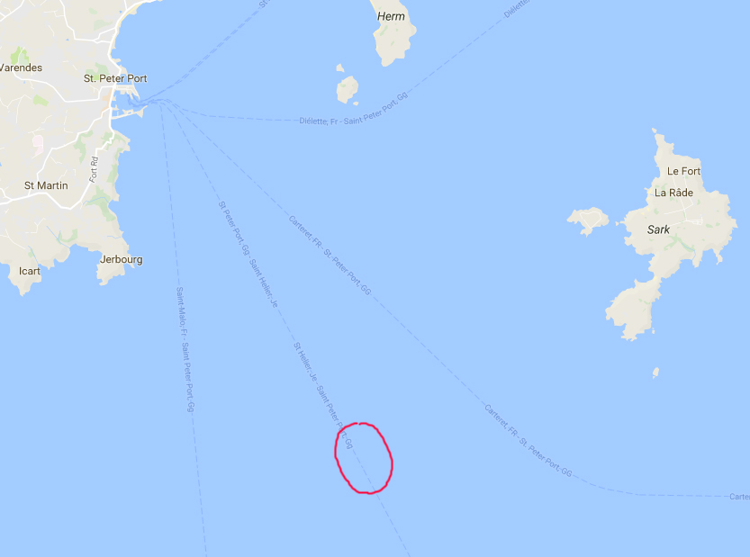 Location of Cory's Shearwater sighting