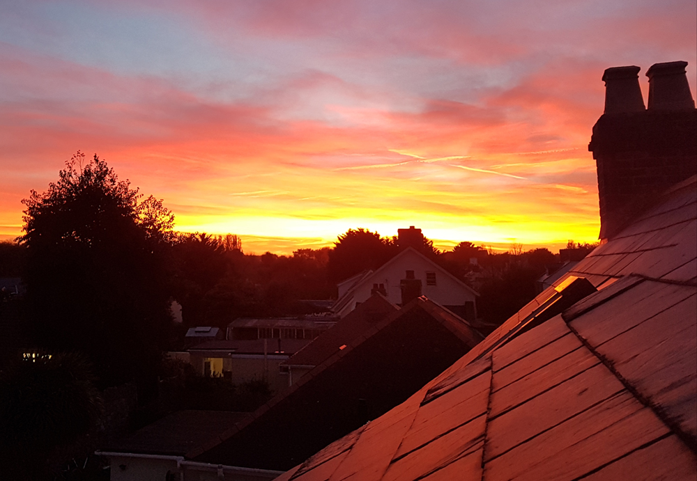 A late-October sunset from our house roof.