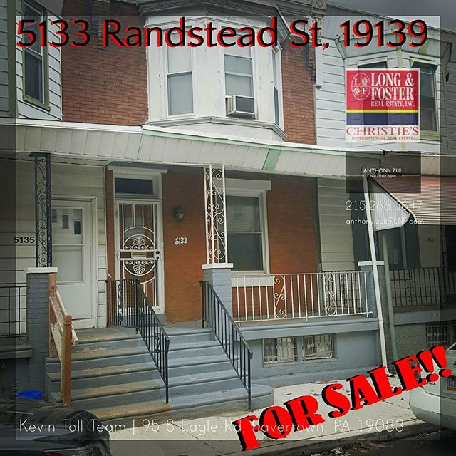 GREAT HOME FOR SALE!  5133 Randstead St in the city's Walnut Hill neighborhood is a great investment, or first time buy. With a little elbow grease this home will go from good to great!  _ Contact me for details!  _ Anthony Zul, #RS315587 anthony.zul@LNF.com  C:215.266.5647  _ Kevin Toll Team  Long & Foster Real Estate, Inc  95 S Eagle Rd, Havertown, PA 19083  O: 610.449.2600 | F: 610.225.7401  #RealEstate #Philadelphia #WalnutHill #Philly #ForSale #Investment #LnF #TeamToll #AnthonyZul
