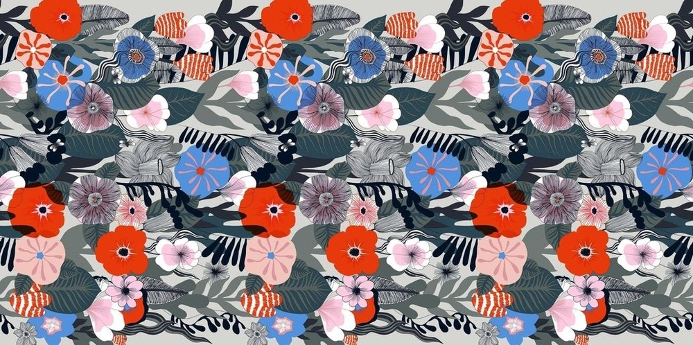 'Kasvu' thick cotton fabric by Marimekko
