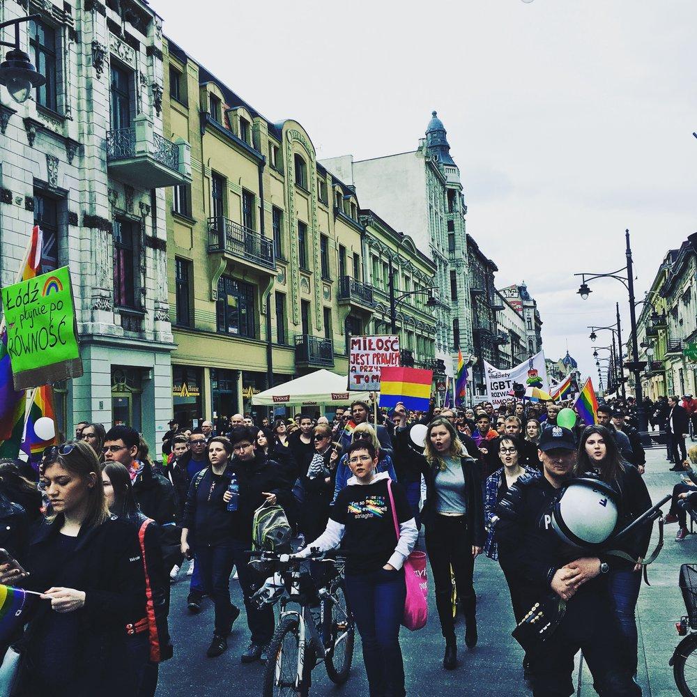 Marchers represent at the 2016 LGBTQ Pride March in Lodz