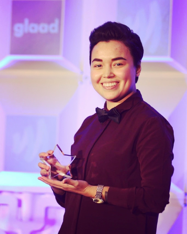 Dani right after winning a GLAAD award in San Francisco
