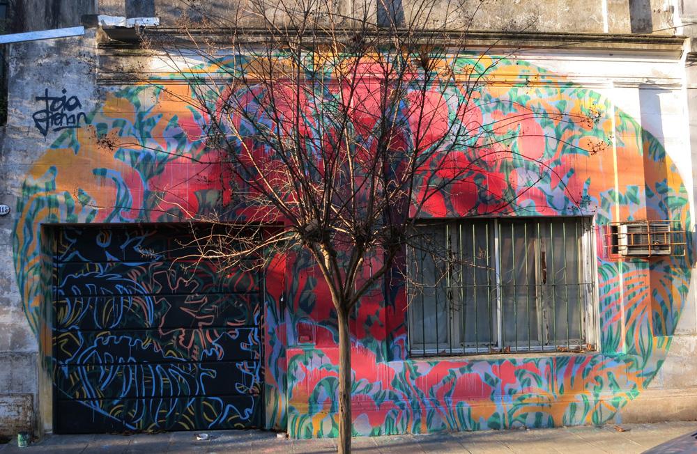 Mural de Toia Grehan en el paseo de murales de la calle Langeri.