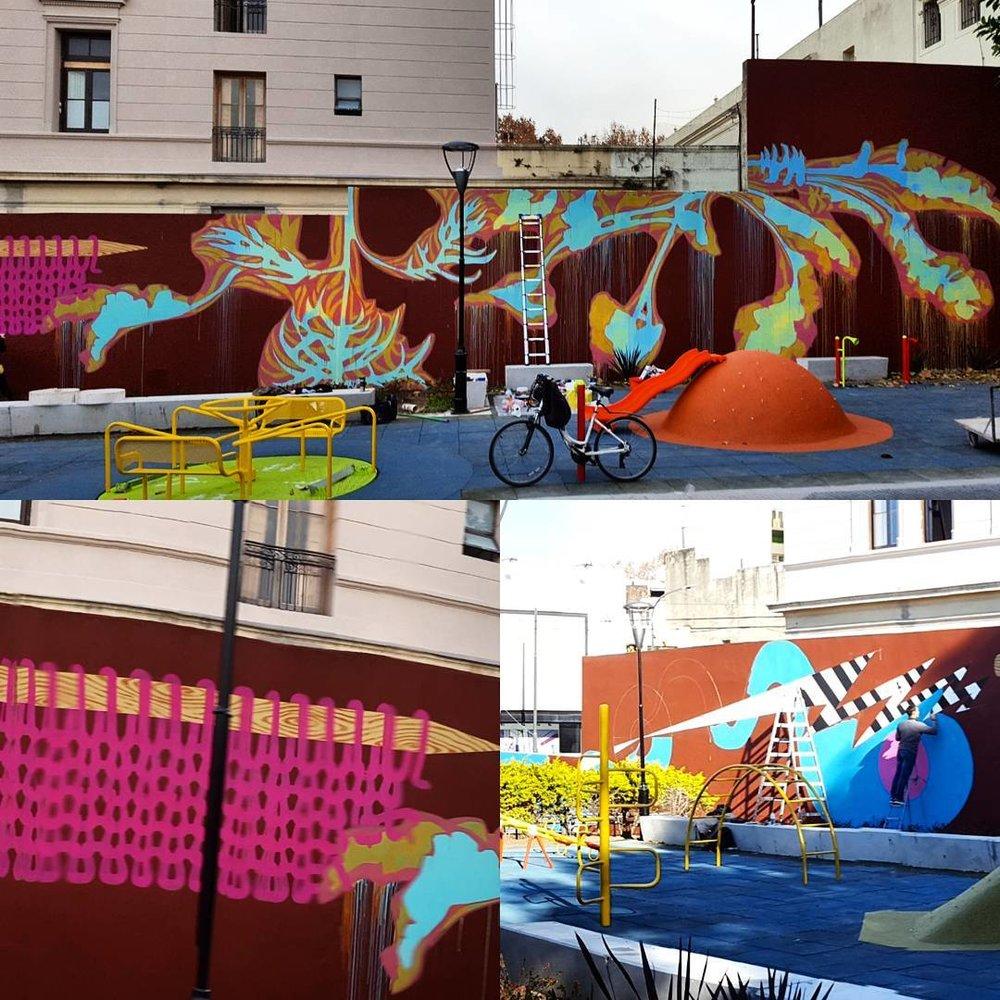 Fotos del proceso de realización del mural en colaboración entre Jenny Roesel Ustick (USA), Kiik Create (Pto Rico) y Toia Grehan (Arg).