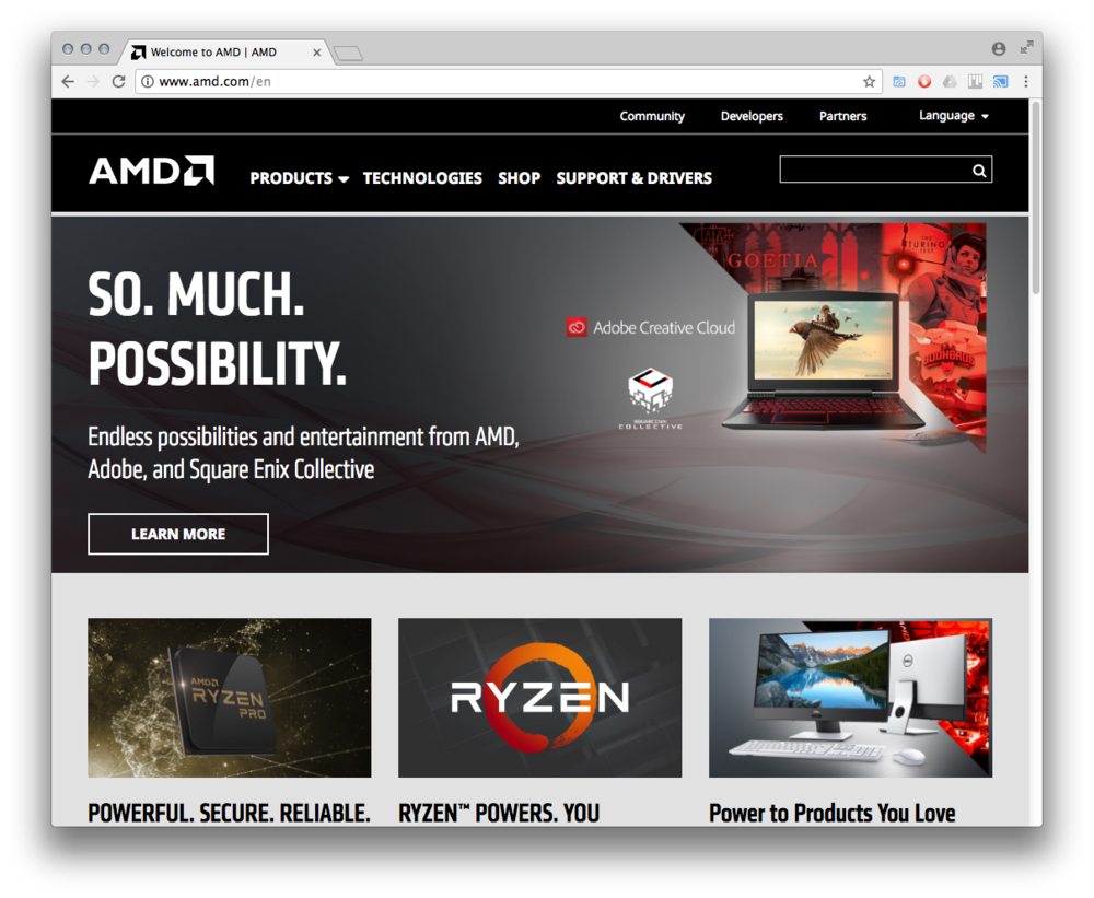 The New AMD.com - • Streamlined information architecture and navigation• Containerized, modular design structure• Content-driven UX aligned with users' journeys