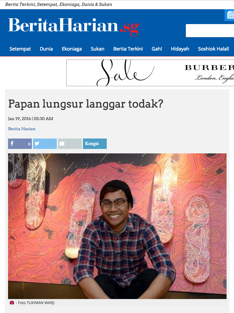 'Papan lungsur langgar todak?' article published on 19 Jan 2016 by Berita Harian, Singapore.
