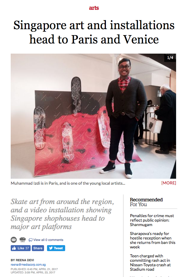 'Singapore art and installations head to Paris and Venice' article published on 21 Apr 2017 by Reena Devi, TODAYonline, Singapore.