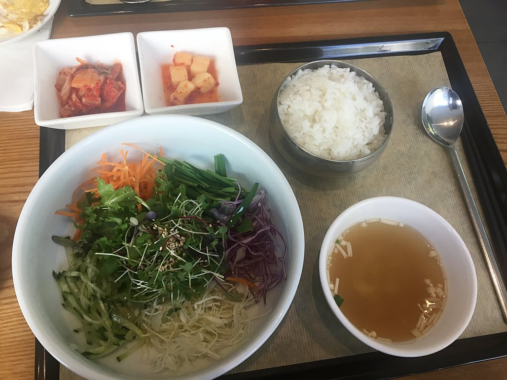 Bibimbap in Seoul, served with dreaded pickles!