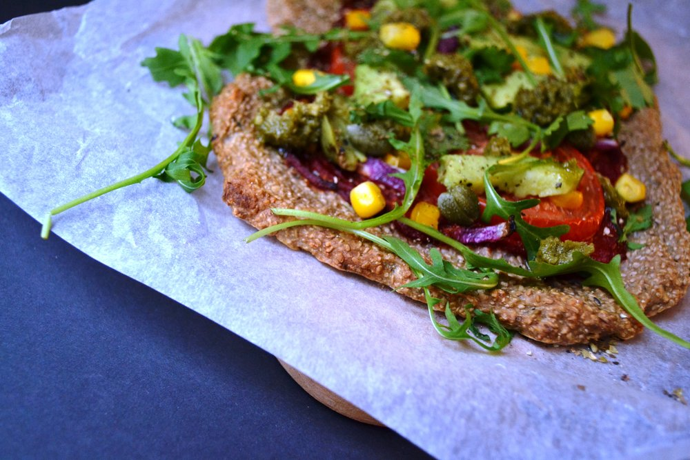 Buckwheat chia crust pizza | The Flourishing Pantry | yeast free diet blog