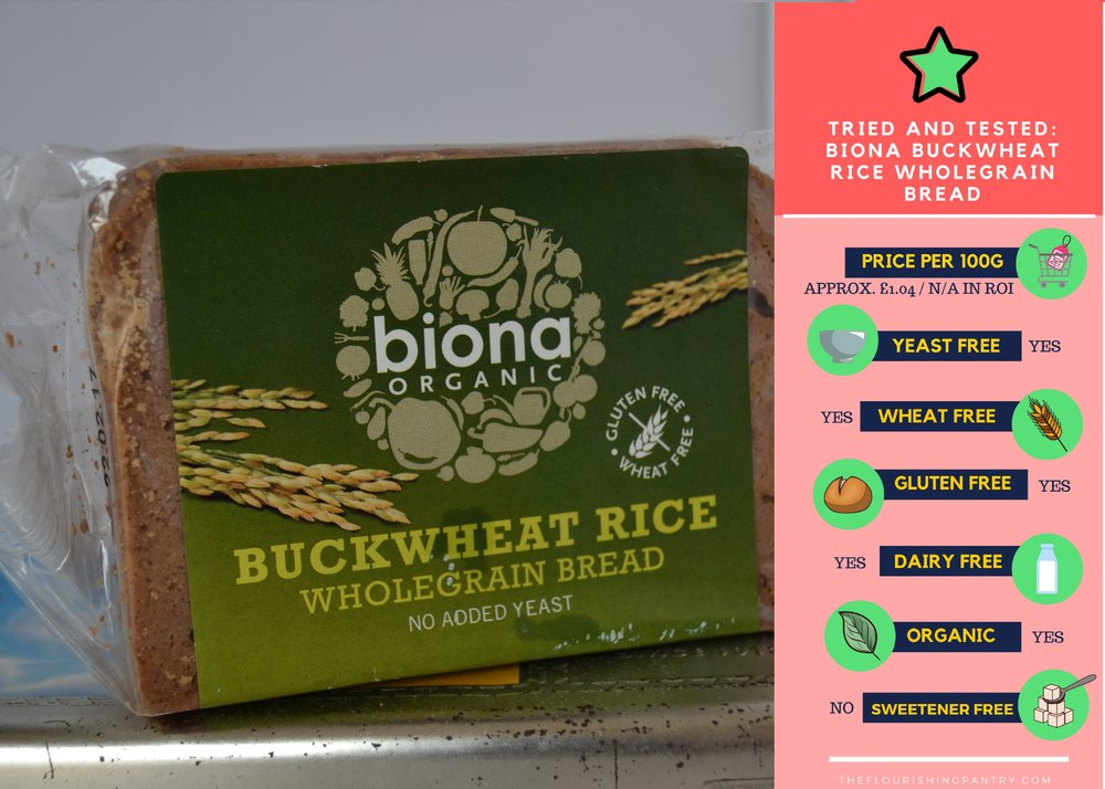 Biona Buckwheat Rice Wholegrain Bread review | The Flourishing Pantry | yeast free diet blog