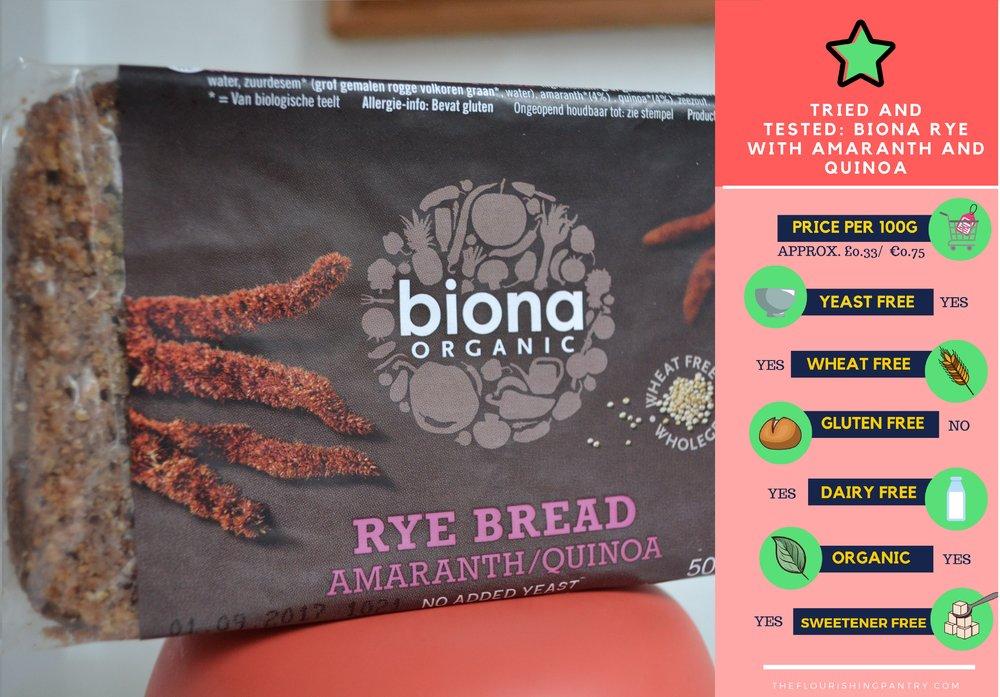 Biona Rye Bread | The Flourishing Pantry | yeast free diet blog