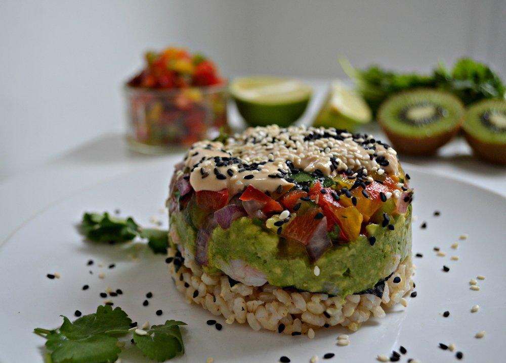 Sushi shrimp stacks | The Flourishing Pantry | yeast free diet blog