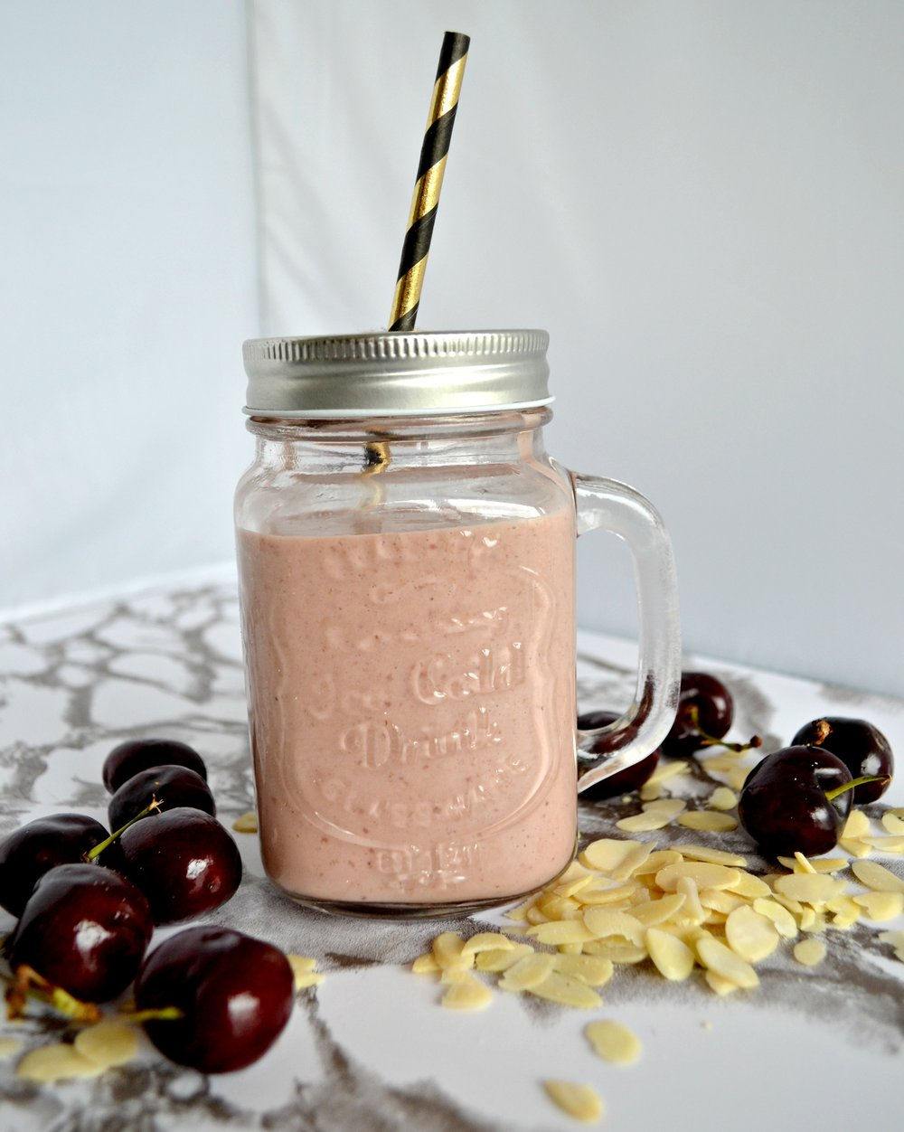 Cherry bakewell smoothie | The Flourishing Pantry | healthy food recipe blog