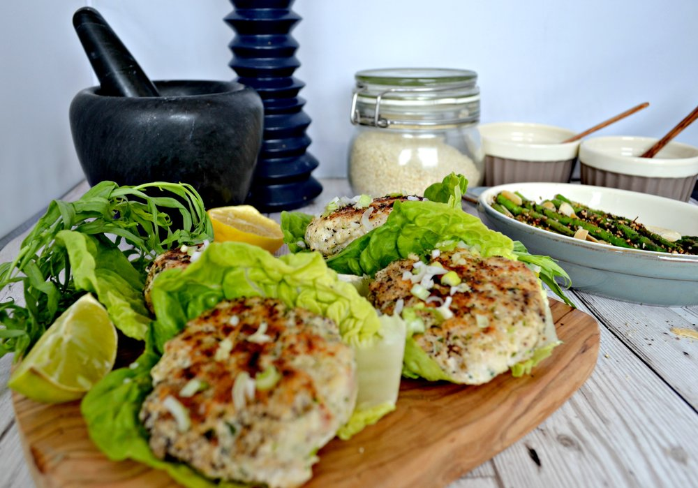Chicken and tarragon burgers with sumac grilled asaparagus | The Flourishing Pantry | healthy eating blog
