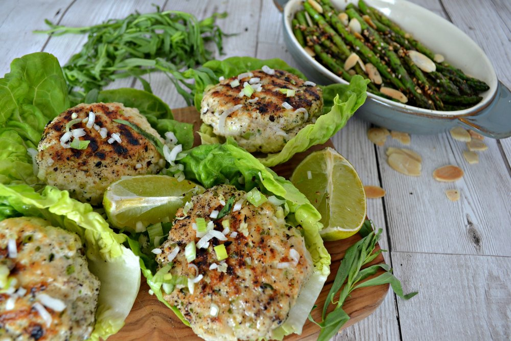 Chicken and tarragon burgers with sumac grilled asparagus | The Flourishing Pantry | healthy eating recipe blog