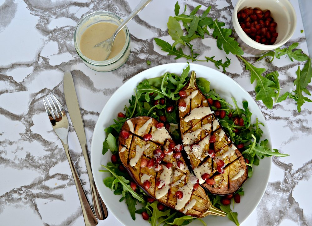 Baked aubergine and tahini dressing | The Flourishing Pantry