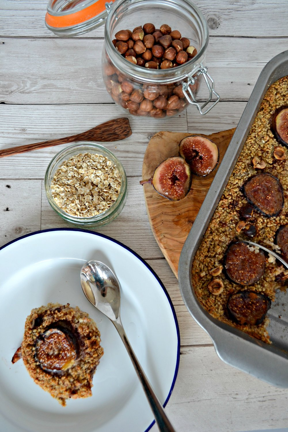 Baked fig and hazelnut oatmeal | The Flourishing Pantry | healthy eating food blog