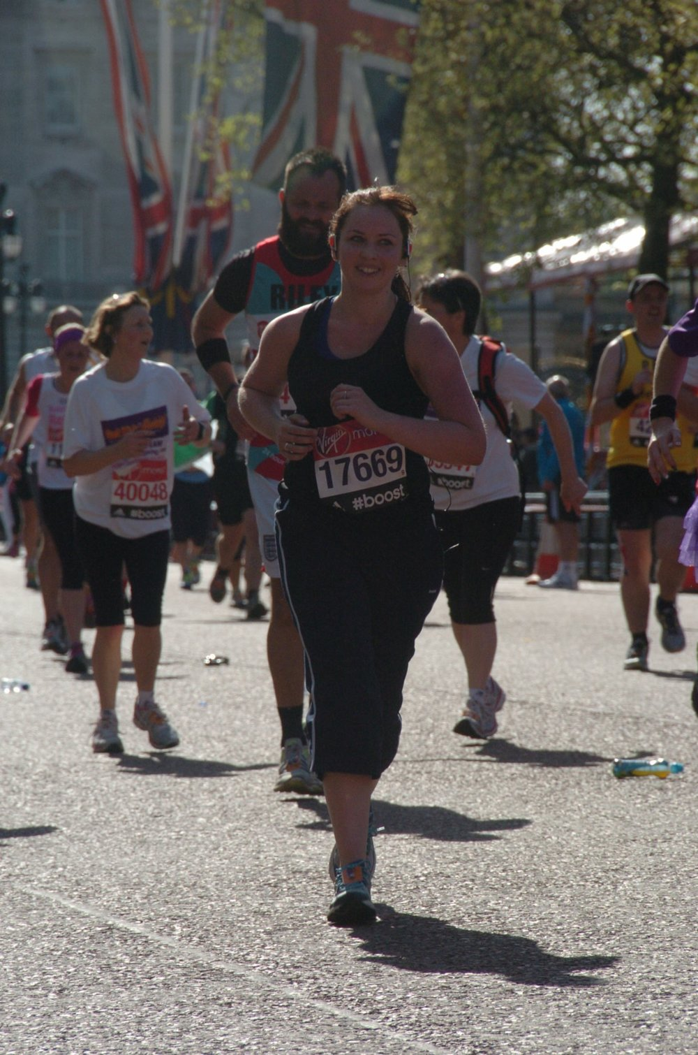 Running the London Marathon in 2014. Nearing the finish!