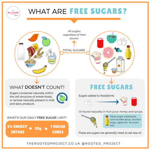 Rooted Project Free Sugars infographic