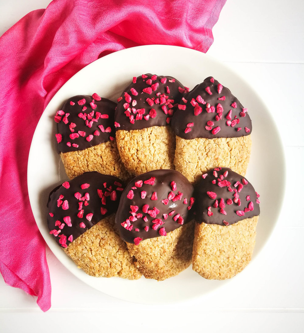 Oatsodelicious giant chocolate dipped cookies