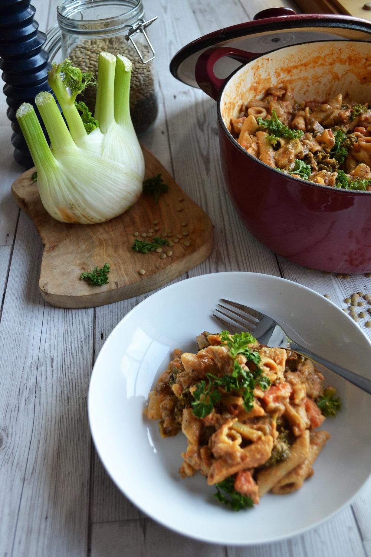 Creamy lentil pasta pot | The Flourishing Pantry